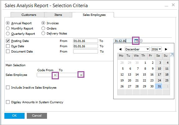 sales analysis report - selections criteria - sales employees